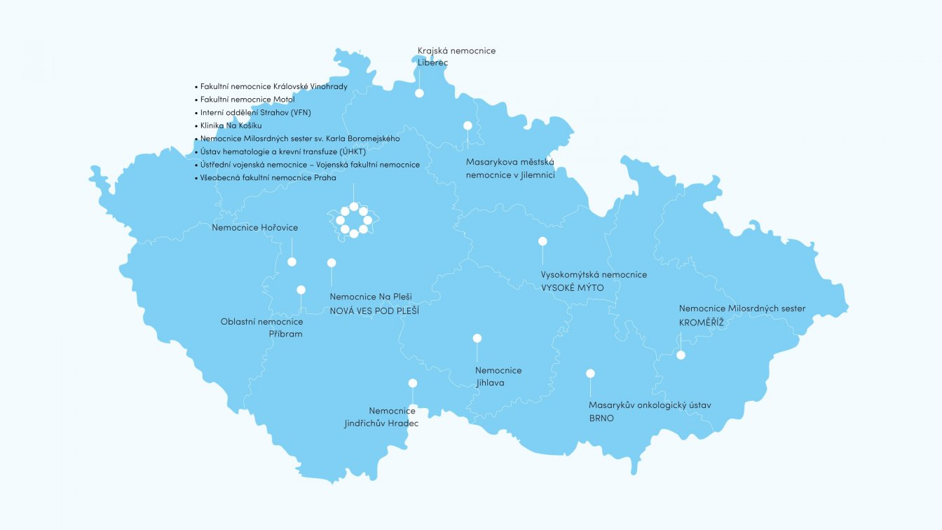 Mapa podpořených nemocnic
